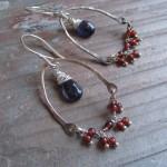 Iolite & Garnet Chandelier earrings