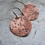 Full Moon Copper & Sterling earrings