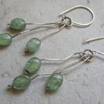 Green Kyanite & Sterling branch earrings