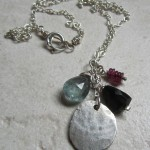 Recycled Silver and Gemstone Charm Necklace